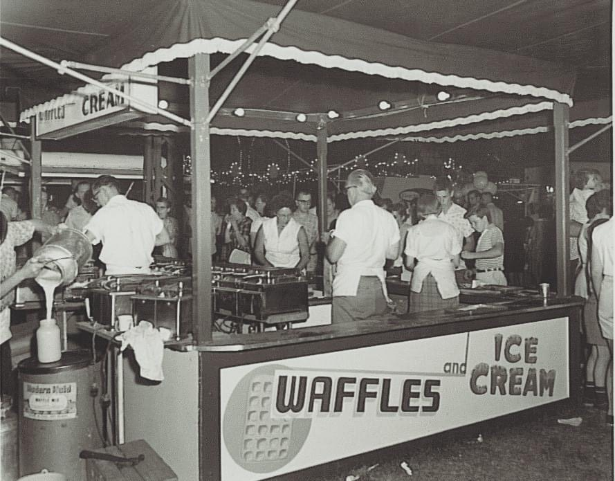 Vintage photo of waffle stand at the Kimberton Fair.