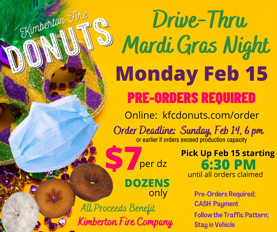 Join us for a special Drive-Thru Donut Mardi Gras Night on Monday, February 15 to celebrate Fat Tuesday - the last day before Lent!